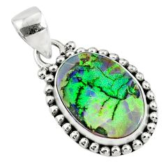 5.63cts multi color sterling opal 925 sterling silver pendant jewelry r70122