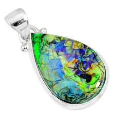 8.12cts multi color sterling opal 925 sterling silver handmade pendant r92501