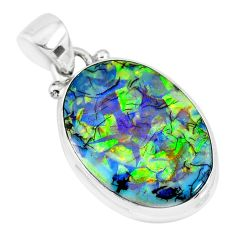 8.84cts multi color sterling opal 925 sterling silver handmade pendant r92545