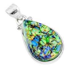 8.12cts multi color sterling opal 925 sterling silver handmade pendant r92548