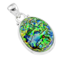 8.87cts multi color sterling opal 925 sterling silver handmade pendant r92562