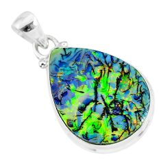 11.07cts multi color sterling opal 925 sterling silver handmade pendant r92577