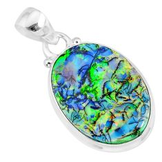 10.69cts multi color sterling opal 925 sterling silver handmade pendant r92583