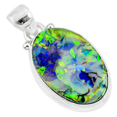 8.03cts multi color sterling opal 925 sterling silver handmade pendant r92591