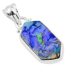 4.51cts multi color sterling opal 925 sterling silver pendant jewelry r95815