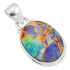 5.42cts multi color sterling opal 925 sterling silver pendant jewelry r95846