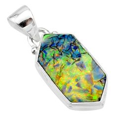 4.89cts multi color sterling opal 925 sterling silver pendant jewelry t13647