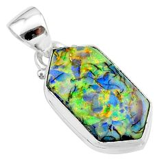4.54cts multi color sterling opal 925 sterling silver pendant jewelry t13665