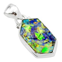 4.60cts multi color sterling opal 925 sterling silver pendant jewelry t13682