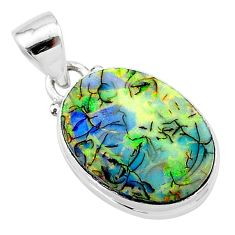6.19cts multi color sterling opal 925 sterling silver pendant jewelry t13686