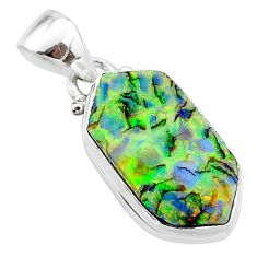 4.94cts multi color sterling opal 925 sterling silver pendant jewelry t13689