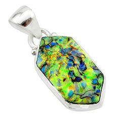 5.13cts multi color sterling opal 925 sterling silver pendant jewelry t13695