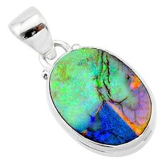 6.50cts multi color sterling opal 925 sterling silver pendant jewelry t13713