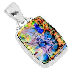 6.44cts multi color sterling opal 925 sterling silver pendant jewelry t13834
