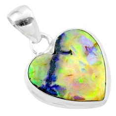 6.61cts multi color sterling opal 925 sterling silver pendant jewelry t45221
