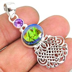 3.90cts multi color sterling opal amethyst 925 sterling silver pendant r84595