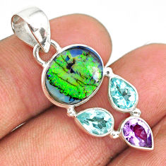 7.17cts multi color sterling opal amethyst topaz 925 silver pendant r84583