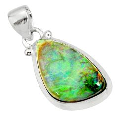 9.80cts multi color sterling opal fancy 925 sterling silver pendant r27366