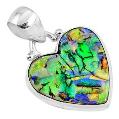 7.27cts multi-color sterling opal heart 925 silver heart pendant jewelry r70158