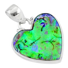 8.69cts multi color sterling opal heart 925 sterling silver heart pendant r70106