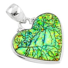 9.67cts multi color sterling opal heart 925 sterling silver heart pendant r70112