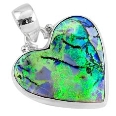 9.62cts multi color sterling opal heart 925 sterling silver heart pendant r70115