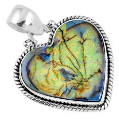 9.33cts multi color sterling opal heart 925 sterling silver pendant r58722
