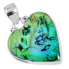 9.83cts multi color sterling opal heart 925 sterling silver pendant r58723