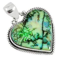 10.32cts multi color sterling opal heart 925 sterling silver pendant r58725