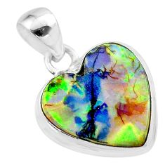 6.59cts multi color sterling opal heart 925 sterling silver pendant t45233