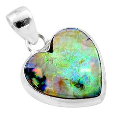 6.88cts multi color sterling opal heart 925 sterling silver pendant t45235