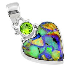 8.30cts multi color sterling opal heart peridot 925 silver heart pendant r70149