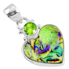 8.69cts multi color sterling opal heart peridot 925 silver heart pendant r70151