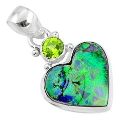 8.35cts multi color sterling opal heart peridot 925 silver heart pendant r70154