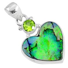 9.34cts multi color sterling opal heart peridot 925 silver heart pendant r70156