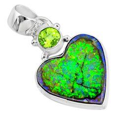 8.69cts multi-color sterling opal heart peridot 925 silver heart pendant r70159