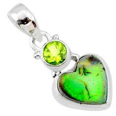 3.72cts multi color sterling opal heart peridot 925 silver pendant r64371