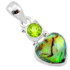 3.72cts multi color sterling opal heart peridot 925 silver pendant r64372