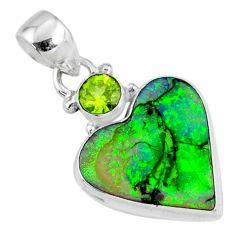 8.69cts multi color sterling opal heart peridot 925 silver pendant r70249