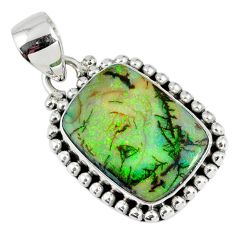 9.16cts multi color sterling opal octagan 925 sterling silver pendant r58804