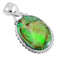 8.69cts multi color sterling opal oval sterling silver pendant jewelry r58795