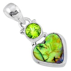 4.24cts multi color sterling opal peridot 925 silver heart pendant r64281