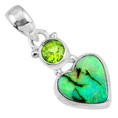 4.21cts multi color sterling opal peridot 925 silver heart pendant r64282