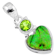 4.27cts multi color sterling opal peridot 925 silver heart pendant r64283