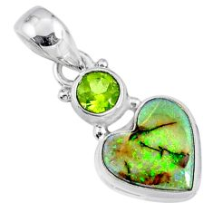 4.21cts multi color sterling opal peridot 925 silver heart pendant r64285