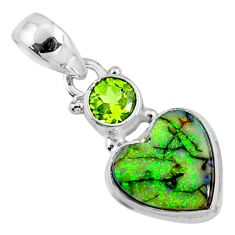 4.19cts multi color sterling opal peridot 925 silver heart pendant r64286