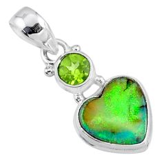 3.97cts multi color sterling opal peridot 925 silver heart pendant r64287