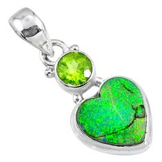 4.21cts multi color sterling opal peridot 925 silver heart pendant r64289