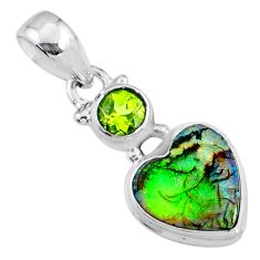 4.29cts multi color sterling opal peridot 925 silver heart pendant r64290