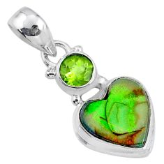 4.59cts multi color sterling opal peridot 925 silver heart pendant r64291